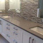 Quartz Countertops, Concrete Colored Quartz Bathroom Countertop by ADP Surfaces in Orlando Florida