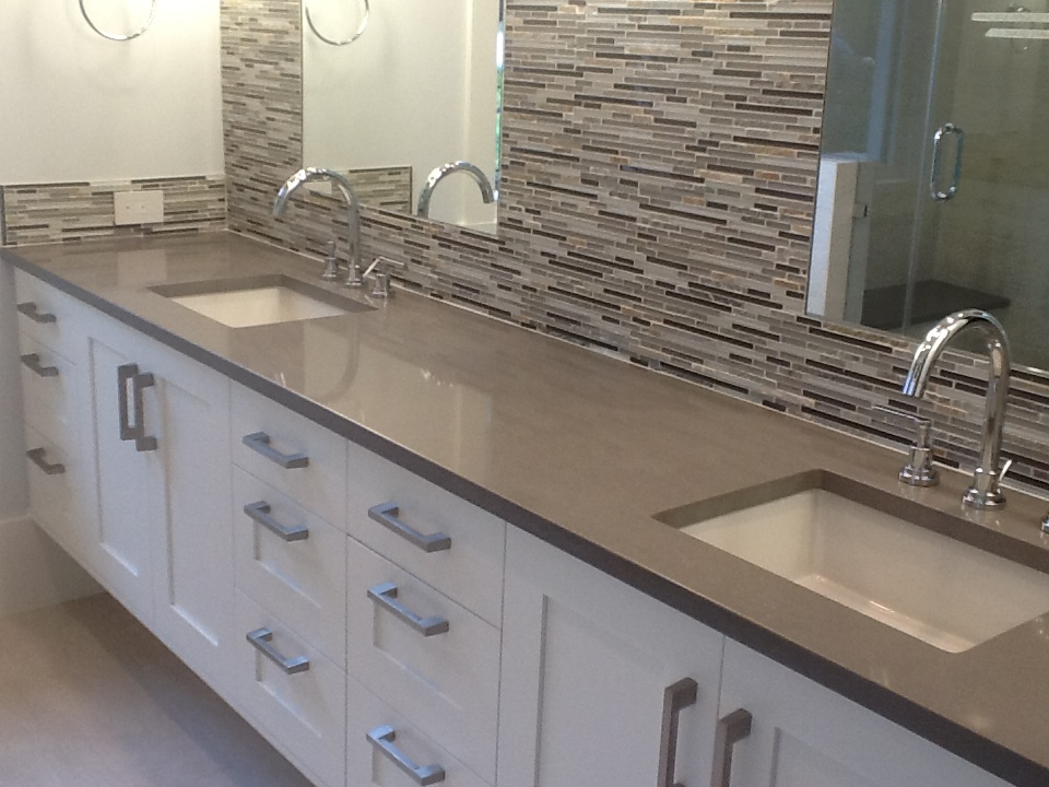 Quartz Countertops, Concrete Colored Quartz Bathroom Countertop