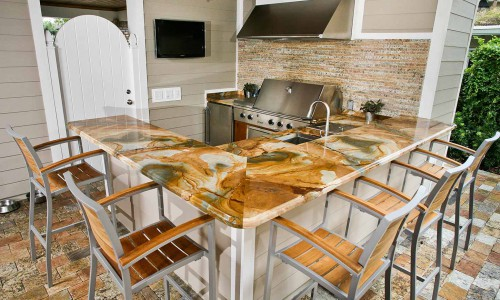 Marble Outdoor Kitchen Countertop by ADP Surfaces in Orlando Florida