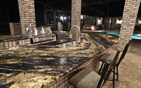 outdoor kitchen countertop,Sedna Granite, Unique Granite Outdoor Countertop by ADP Surfaces in Orlando Florida