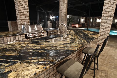 Outdoor Kitchen Countertop,Sedna Granite, Unique Granite Outdoor Countertop  By ADP Surfaces In Orlando