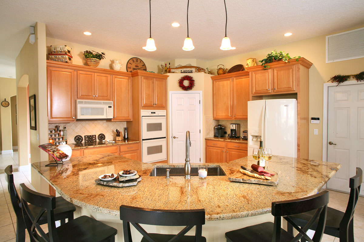 Beautiful Orlando Granite Kitchen Countertop With Undermount Sinks And No Backsplash  By ADP Surfaces In Orlando Florida