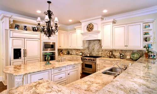 Custom Granite Countertops, Golden Oak Granite Kitchen Countertop with Backsplash Granite Countertops Orlando