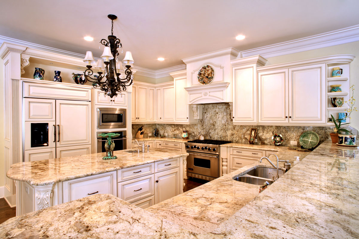 Granite Countertop Ideas And Backsplash Part - 40: Custom Granite Countertops, Golden Oak Granite Kitchen Countertop With Backsplash  Granite Countertops Orlando By ADP