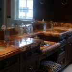 Marble and Onyx Vanity custom edge by ADP Surfaces in Orlando Florida