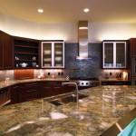 Custom Countertop Quartzite Countertop Material, Undermount Sink, Tile Backsplash by ADP Surfaces in Orlando Florida