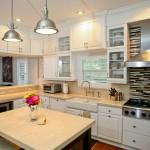 Crema-marphil marble Kitchen, Farmhouse sink by ADP Surfaces in Orlando Florida