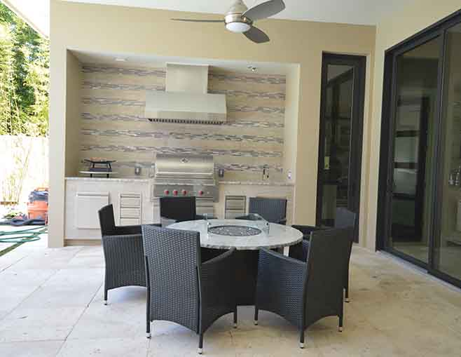 Attractive Orlando Granite Outdoor Kitchen Countertop With Fireplace Table And Worktop  By ADP Surfaces In Orlando Florida
