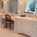 This is a White Double Vanity with top mounted sinks.