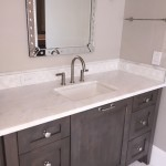 White Bathroom Vanity Countertop with Rustic Wood Cabinetsby ADP Surfaces in Orlando Florida