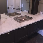 White Bathroom Vanity Countertops with square decorative brass sink by ADP Surfaces in Orlando Florida