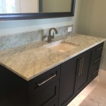 White and Beige Bathroom Vanity Countertop with Square undermount sink and black cabinetsby ADP Surfaces in Orlando Florida