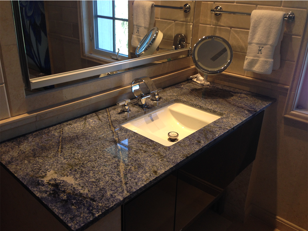 Install granite countertop bathroom vanity new fall for Replace bathroom countertop